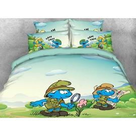 Jungle Smurf Nature Watcher Printed Twin 3-Piece Kids Bedding Sets