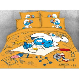 Baby Painter Smurf Printed Twin 3-Piece Kids Bedding Sets/Duvet Covers