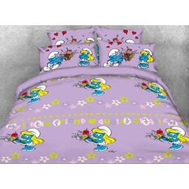 Smurfette Holding Flower Bouquet Printed Twin 3-Piece Kids Bedding Sets