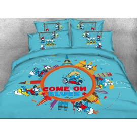 Soccer Smurf the Smurfs Village Building Twin 3-Piece Kids Bedding Sets