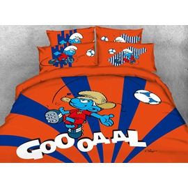 Soccer Smurf Goal Printed Contrast Color Twin 3-Piece Kids Bedding Sets