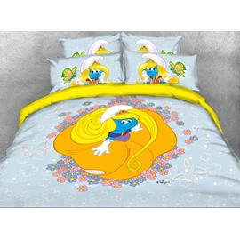Princess Smurfette with Yellow Dress Printed Twin 3-Piece Kids Bedding Sets