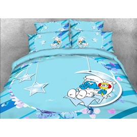 Baby Smurf with Moon Stars Printed Twin 3-Piece Kids Bedding Sets