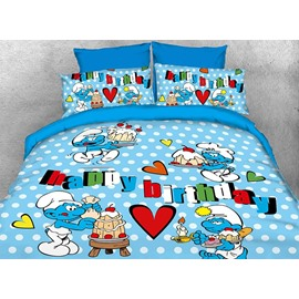 The Smurfs Happy Birthday Kids Twin 3-Piece Bedding Sets/Duvet Covers