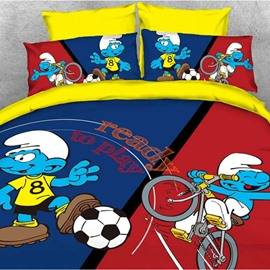Soccer Smurf and Cyclist Smurf Twin 3-Piece Kids Bedding Sets/Duvet Covers