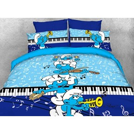 Harmony Smurfs Play the Music Twin 3-Piece Kids Bedding Sets/Duvet Covers