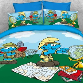 Nature Watcher Jungle Smurfs Printed Twin 3-Piece Kids Bedding Sets/Duvet Covers