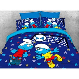 Soccer Smurfs Follow Sports Spirit Twin 3-Piece Kids Bedding Sets/Duvet Covers
