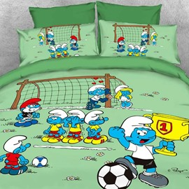 Soccer Smurf Win Trophy at the Match Twin 3-Piece Kids Bedding Sets