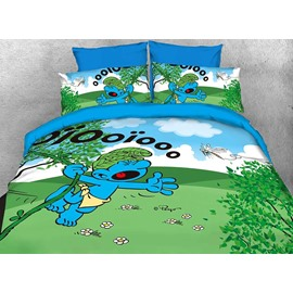 Wild Smurf in Jungle Natural Twin 3-Piece Kids Bedding Sets/Duvet Covers