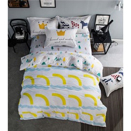 Yellow Annulus and Trees Printed Cotton 4-Piece Bedding Sets/Duvet Cover