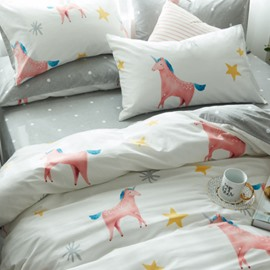 Pink Unicorn Printed Cotton 4-Piece White Duvet Covers/Bedding Sets