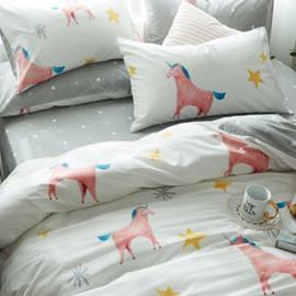 Pink Unicorn Printed Cotton 4-Piece White Duvet Covers/Bedding Sets