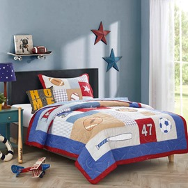 Football Patchwork 2 Pieces Cotton Duvet Cover Sets