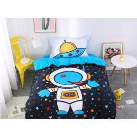 Cartoon Astronaut 3 Pieces Blue Cotton Bedding Sets/Duvet Covers