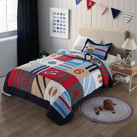 British Style Baseball Patchwork Pattern 2 Pieces Cotton Duvet Cover Sets