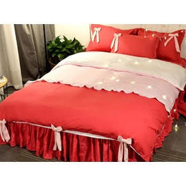 Red Princess Style Cute Bows Decor 4-Piece Girl Bedding Sets/Duvet Cover
