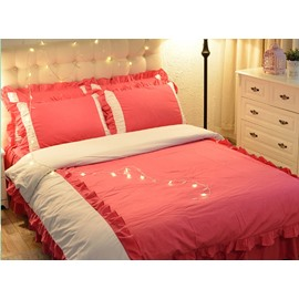 Red And White Korean Style For Little Girl Cotton 4-Piece Bedding Sets/Duvet Cover