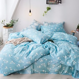 Blue Leaf Pattern Simple Style 4-Piece Girl Bedding Sets/Duvet Cover