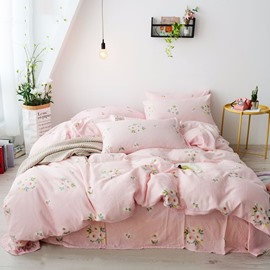 Pink Flower Pattern Sweet Style 4-Piece Girl Bedding Sets/Duvet Cover