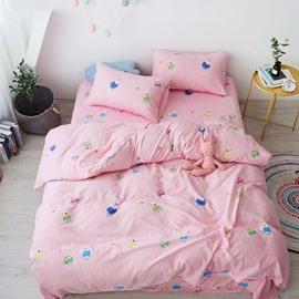 Pink Cartoon Pattern Cotton Material 4-Piece Kids Bedding Sets/Duvet Cover