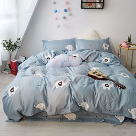 Cartoon Cute Elephant Pattern Cotton Simple Style 4-Piece Kids Bedding Sets/Duvet Cover