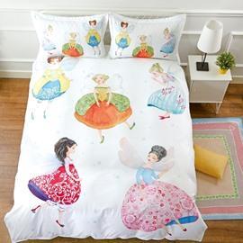 Unique Design Fairy Pattern Cotton Material White 4-Pieces Girl Bedding Sets/Duvet Cover