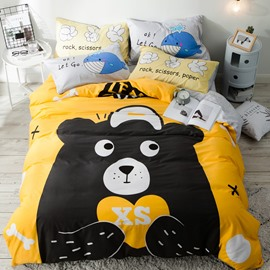 Cotton 4-Piece Cartoon Black Bear Pattern Kids Duvet Covers/Bedding Sets