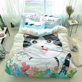 Cotton 4-Piece Cartoon Cat Pattern Kids Duvet Covers/Bedding Sets