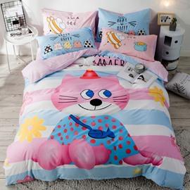 Cute Pink Cat Pattern Cotton 4-Piece Kids Duvet Covers/Bedding Sets