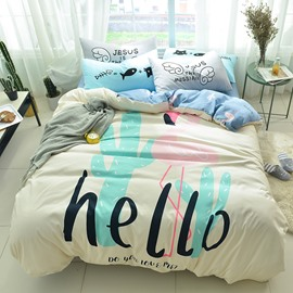 Cotton Hello Letter Pattern 4-Piece Kids Duvet Covers/Bedding Sets