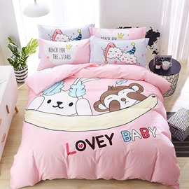 Cotton Pink Monkey And Rabbit Pattern 4-Piece Kids Duvet Covers/Bedding Sets