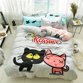 Cute Cartoon Two Cats Pattern Cotton 4-Piece Kids Duvet Covers/Bedding Sets