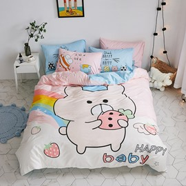 Pink Cartoon Pig Pattern Cotton 4-Piece Kids Duvet Covers/Bedding Sets