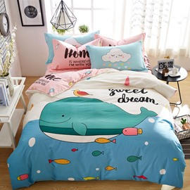 Cute Cartoon Whale Pattern Cotton 4-Piece Kids Duvet Covers/Bedding Sets