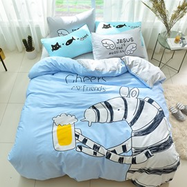 Creative Zebra Pattern Cotton 4-Piece Blue Kids Duvet Covers/Bedding Sets