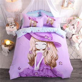 Purple Cute Cartoon Little Girl Pattern Cotton 4-Piece Kids Duvet Covers/Bedding Sets