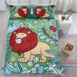 Hand Painted Lion Pattern Cotton Material 4-Pieces Kids Bedding Sets/Duvet Cover