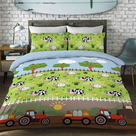 Car And Cow Pattern Cotton Material 4-Pieces Kids Bedding Sets/Duvet Cover