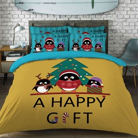 Christmas Penguin Pattern Cotton Material 4-Pieces Kids Bedding Sets/Duvet Cover