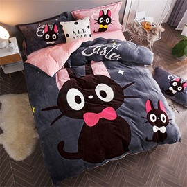 Black Cat Reversible Flannel Warm Kids 4-Piece Fluffy Bedding Sets/Duvet Cover