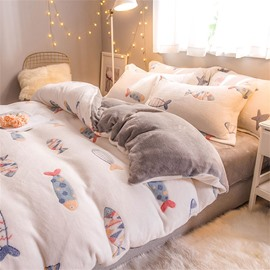 White Reversible Flannel Warm Cute Fish Kids 4-Piece Fluffy Bedding Sets/Duvet Cover