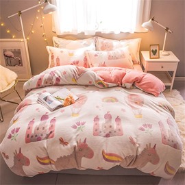 White Cartoon Balloon Reversible Flannel Warm Kids 4-Piece Fluffy Bedding Sets/Duvet Cover