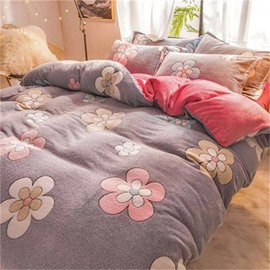 Grey Reversible Flannel Warm Flower Kids 4-Piece Fluffy Bedding Sets/Duvet Cover