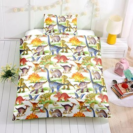 Watercolor Cartoon Dinosaur Printed 2PC/3PC Bedding Sets/Duvet Covers