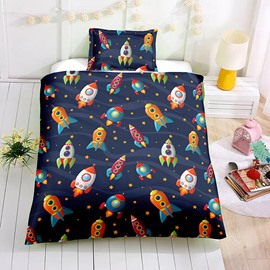 Cartoon Small Rocket Printed Boy 2PC/3PC Bedding Sets/Duvet Covers