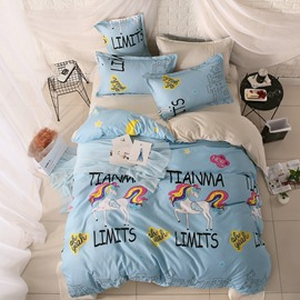 Cute Horse With Colored Hair Sanding Aloe Vera Cotton 4-Pieces Kids Bedding Sets(Blue)