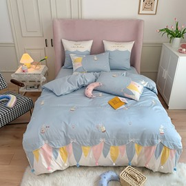 Mermaid coloured flags Cartoon Embroidery Four-Piece Duvet Cover Set 60 Long-staple Cotton Children Lovely Princess Prince Room Girls Bedroom