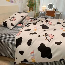4 PCS Duvet Cover Sets Cartoon Cow Black and White Plaid Pattern Girls Boys Bedding Sets