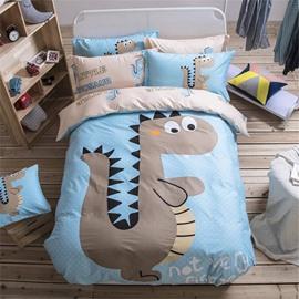 4 PCS Duvet Cover Bedding Set Cotton Blue Cartoon Dinosaur Child Cute Gift Durable Anti-wrinkle Boys Bedding Sets